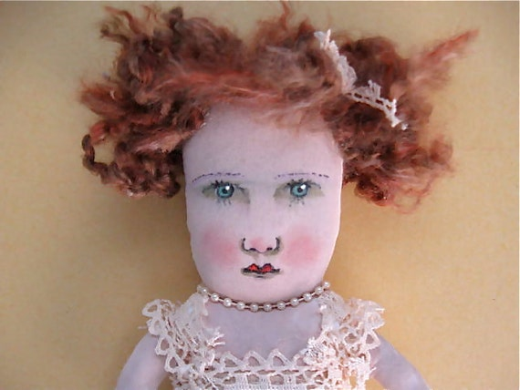 mermaid art doll ooak- - victorian- shabby chic- lace- soft burlap
