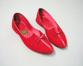 Vintage 1950s 60s red Corduroy slippers shoes Ballet flats
