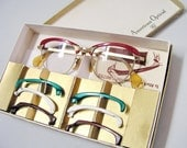 1950s glasses eyeglasses Removable exchangeable Flamettes American Optical Flame box set Interchangeable Rims