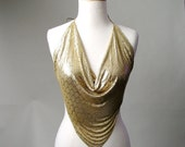 RESERVED for VINTAGE CHICK......vintage 1970s Whiting and Davis  gold Mesh top blouse