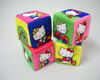 Vintage Hello Kitty plush cube blocks 1983 Sanrio