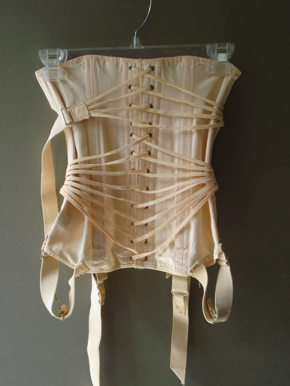 1940s Peach Fan Lacing Pulley Corset Girdle Garters