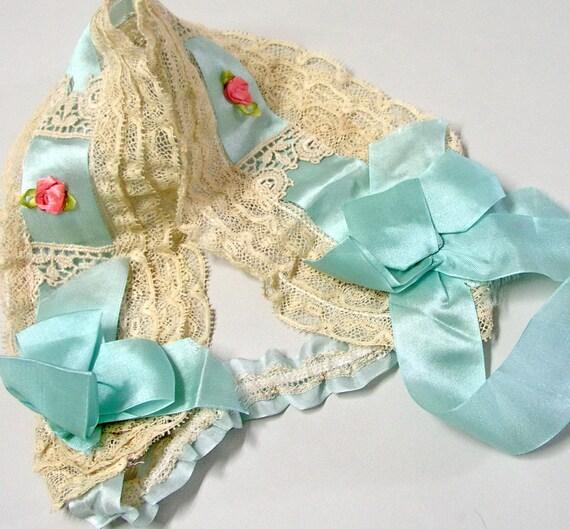 1920s Headband Boudoir blue Silk antique lace Rossettes wedding