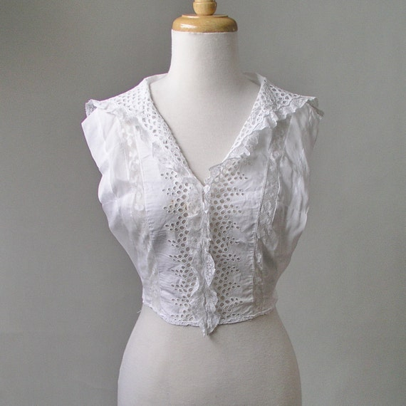 Edwardian jabot dickie sheer cotton Lace eyelet ruffle