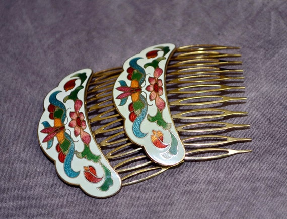 1970s hair combs white Enamel metal dragonfly Art Nouveau style set