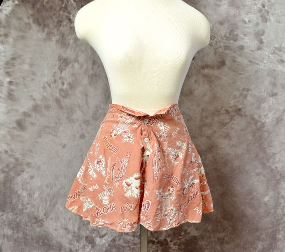 1940s Hawaiian Shorts Mauve Novelty Skirt Skort