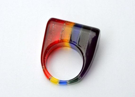 1960s ring Lucite plastic Rainbow mod Geometric 60s vintage