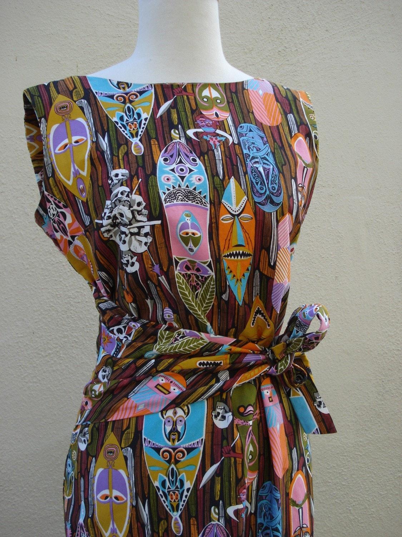 Vintage Rare 60s Disneyland Tiki Sarong Dress