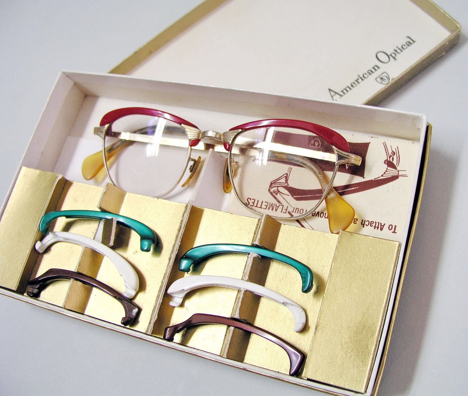 Glasses Frames With Removable Arms : 1950s glasses eyeglasses Removable exchangeable Flamettes