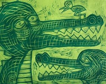 Gators and Bird Woodcut