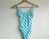 SALE Killer 1980s Vintage Striped Swimsuit by Sienna sz 8