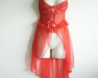 Lipstick Red Vintage Mesh Teddy Valentines Day Sweetheart