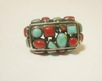 SALE Large Chunky sterling Coral and Turquoise Tribal Ring
