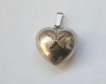Vintage 14K Gold and Sterling Puffy Heart Pendant