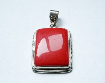 Big Beautiful Red Sterling Pendant braided