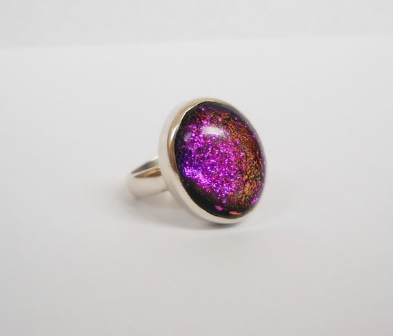 Big chunky Sterling Silver Purple Dichronic Glass Ring Size 6.5 mystical magic