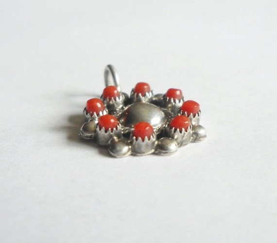 Vintage coral and sterling pendant or charm Native Tribal signed GDM