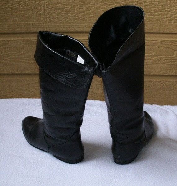 vintage pirate boots black leather big cuff 8 5