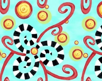 HAPPY, by Jennifer Heynen, Swirly Blossoms on Aqua, Yard