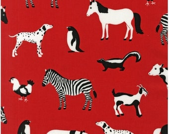 NEW Menagerie in Red   by Pink Light from Robert Kaufman, half  yard