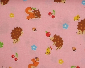Japanese Import fabrics  Hedgehog and Squirrel FQ in PINK