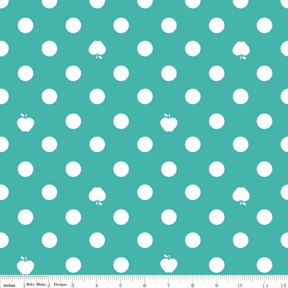 NEW from Riley Blake, Apple of my Eye by The Quilted Fish, Apple DOT Blue Last 34.5 Inches