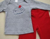 Holiday Super SALE Heart Whale 3 to 6 months longsleeve tee and pant Set