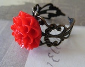 Victorian Style Filigree Red chrysanthemum   Adjustable Ring-Adjustable Antique bronze Rose Flower Ring