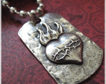 Oxidized Sterling Silver Sacred heart pendantpla-sagrado corazon pendant-sterling silver square dog tag pendant