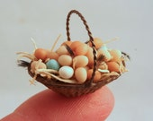 12th scale, handmade, doll house miniature basket of free range eggs.