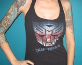 Transformers retro halter top made from a salvaged t-shirt cartoon Small Medium or Large