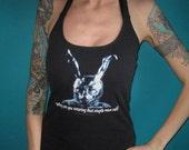Donnie Darko diy horror cult movie halter top made from a salvaged t shirt Medium