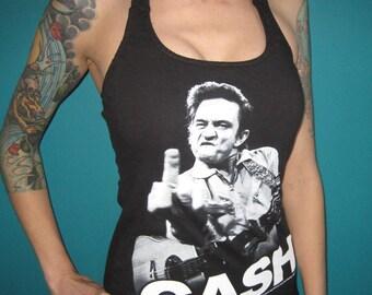 madfoxes Johnny Cash halter DIY top shirt small or medium