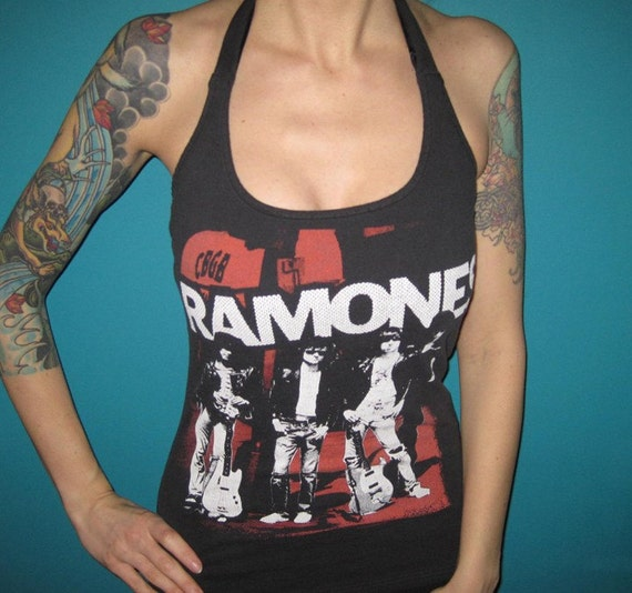 the RAMONES diy halter top 70s punk rock shirt  Small or Medium