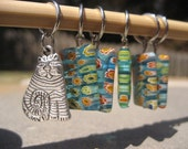 Turquoise Kitty Beaded Stitch Markers (Set of 6)