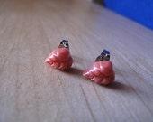 Les boucles d'oreilles Vintage feuille corail Post