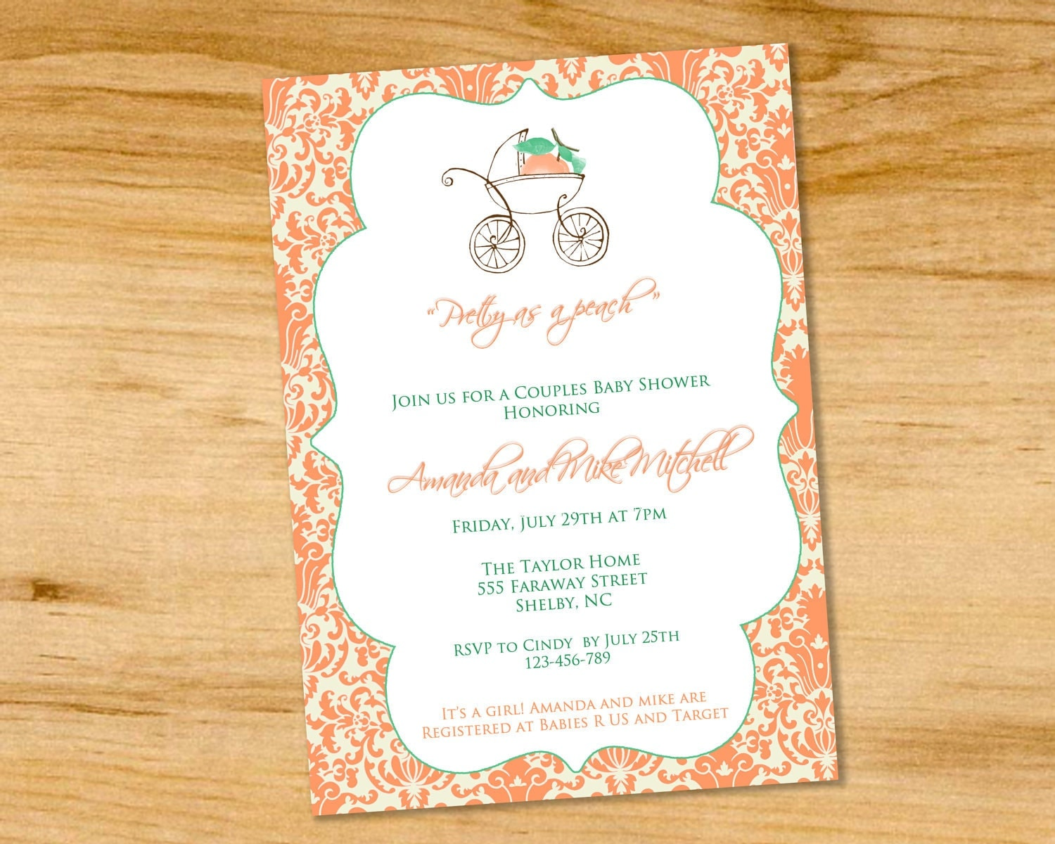 pretty as a peach baby shower invitation by paperclutchshop