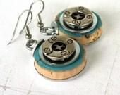 Wine Cork Button Earrings - Turquoise Blue - Recycled by Uncorked