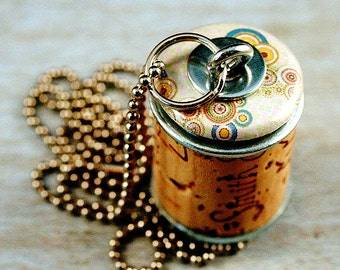 Wine Cork Necklace - Upcycled Jewelry by Uncorked - Creamy Bubbles