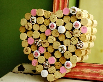 Wine Corkboard - Heart Corkboard, It's a Cupcake War, Decorative Corkboard, Kitchen Organizer, Cupcake Lover Gift, Bulletin Board, Uncorked