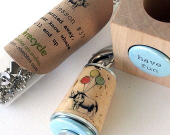 Rhino Fun Necklace - Recycled Cork Jewelry in Test Tube - GET CARRIED AWAY by Uncorked