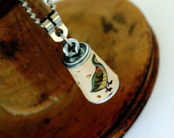 Dove Necklace - Cork Jewelry in Test Tube by Uncorked - Mini Pastel
