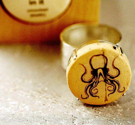 Uncorked Cork Jewelry - OCTOPUS Recycled Wine Cork RING by Uncorked in Wood Cube