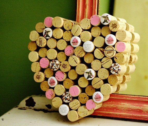 Wine Cork Board - Corkboard for Mom - It's a Cupcake War  -  upcycled by Uncorked