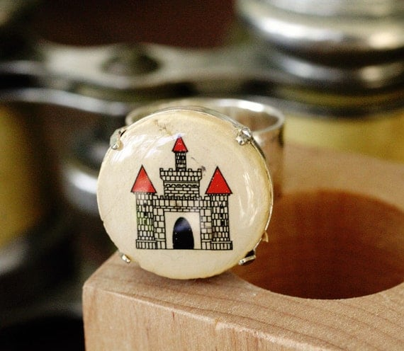 Castle Ring - Castle Jewelry, Wine Cork Ring, Royalty, Queen, Princess, Crown, Throne, Gift, Hammered Silver, Adjustable, Wood - Uncorked