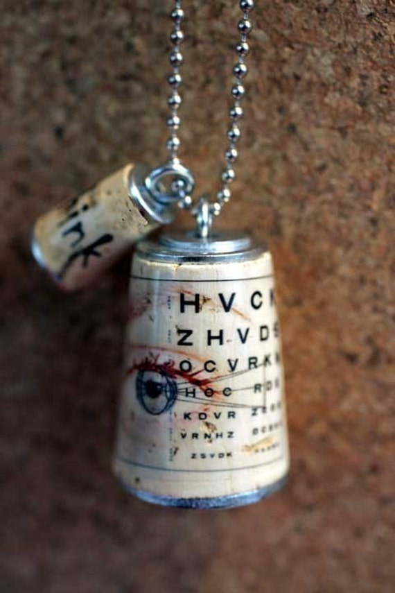 EYE CHART Cork Necklace UNCORKED With Test Tube