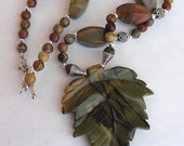 Green brown autumn fall necklace sterling silver and picasso jasper brown green earth tones SALE