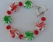 Christmas bracelet holiday white green red silver...no additional discounts on this