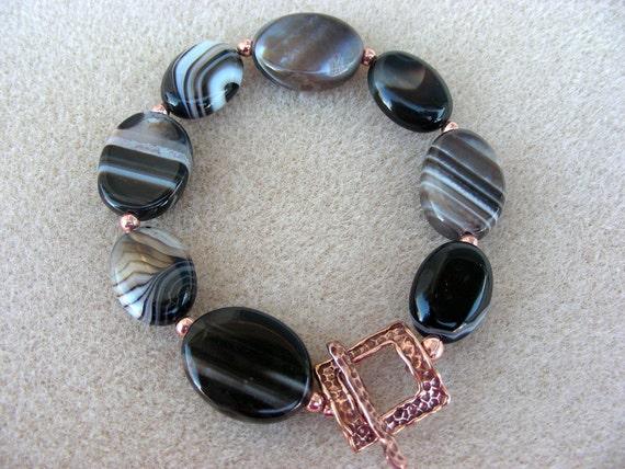 Copper  black bracelet black and white agate 7070