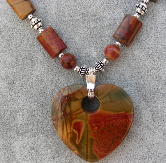 Fall autumn necklace sterling silver Picasso jasper stone heart pendant